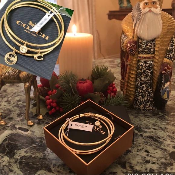 Coach Jewelry - COACH Bracelet Gold Triple Bangle/ Triple Charm!